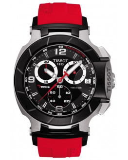 T-Race Chrono Noir & Silicone Rouge Homme