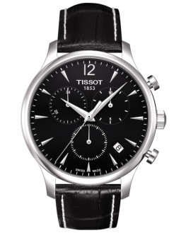 Tradition Chrono Argent & Cuir Noir Homme