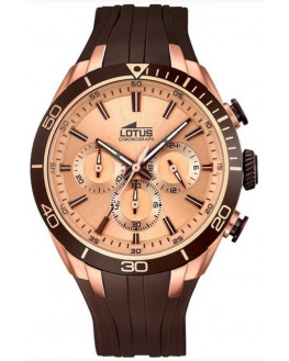 Chrono Doré Rose & Silicone Marron Homme